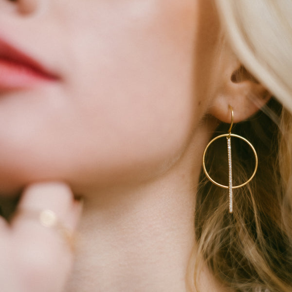 Sterling Silver Hook, Line and Circle Earrings with Gold Plating