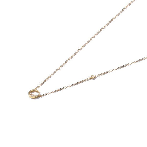 Solid 9ct Gold Mini Stone-Set Circle Necklace