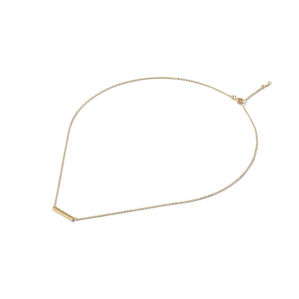 Solid 9ct Gold Stone-Set Bar Necklace