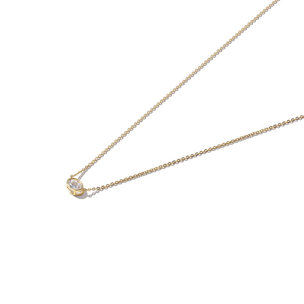 Solid 9ct Gold Oval Rubover Solitaire Neckalce