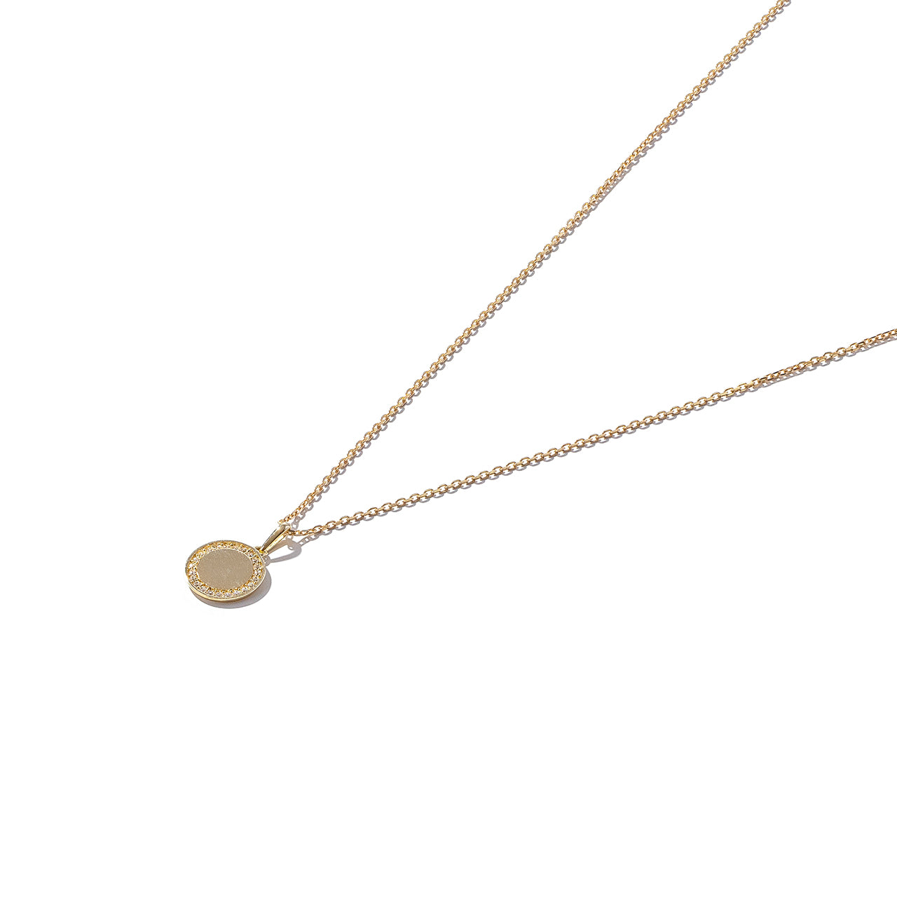 Solid 9ct Gold Stone-Set Disc Pendant