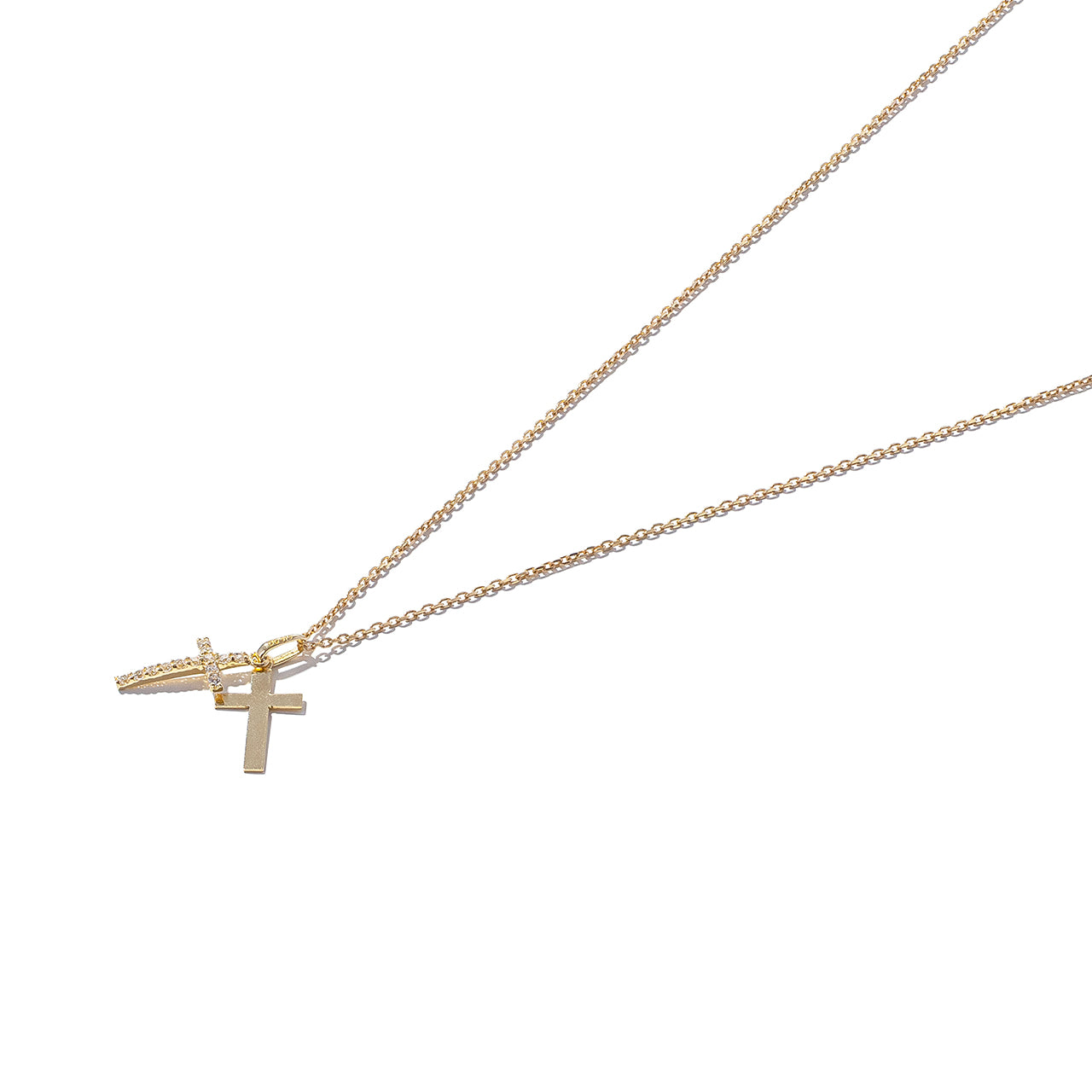 Solid 9ct Gold Double Crossed Pendant