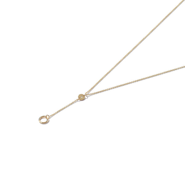 Solid 9ct Gold & Diamond Long Drop Necklace