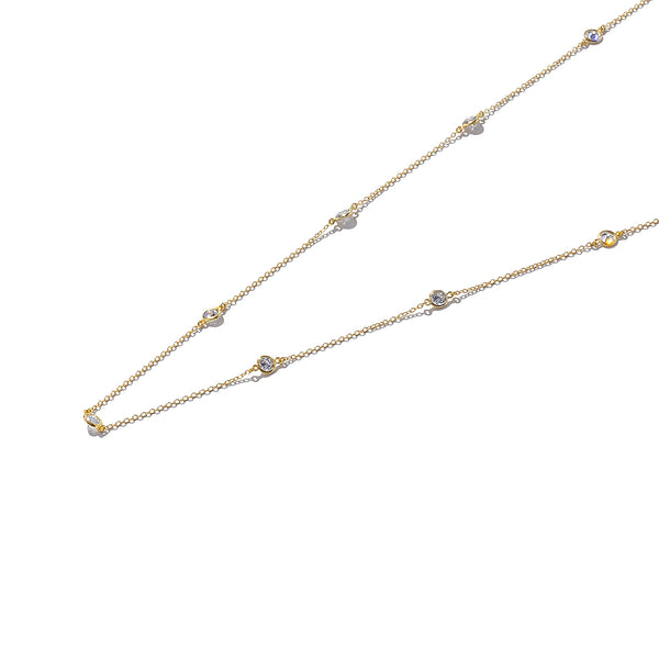 Sterling Silver Stones All Round Necklace with Gold Plating