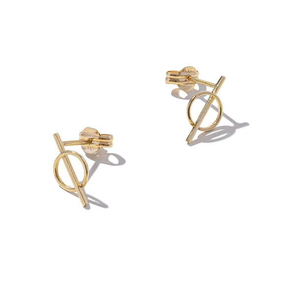 Solid 9ct Gold Draw a Line Through It Earrings
