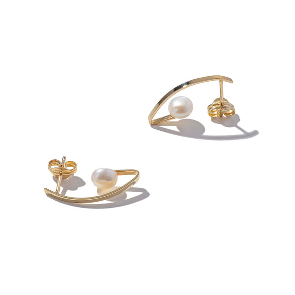 Solid 9ct Gold and Fold Pearl Earring