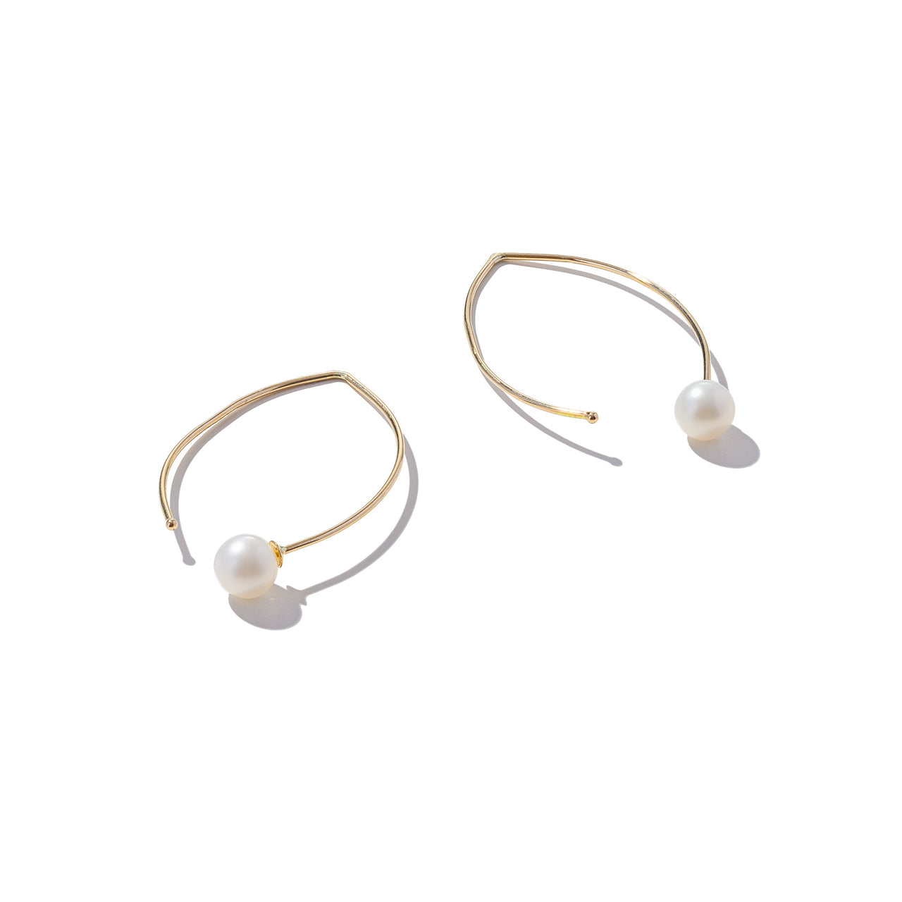 Solid 9ct Gold Pearl Hoops