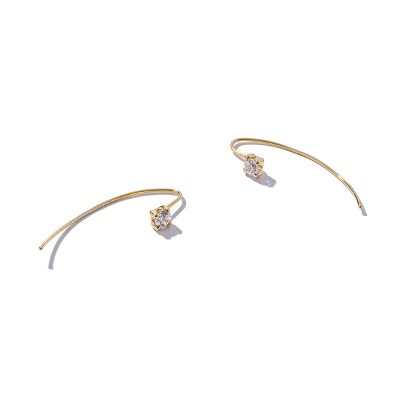 Solid 9ct Gold Stud on a Curved Hook Earring