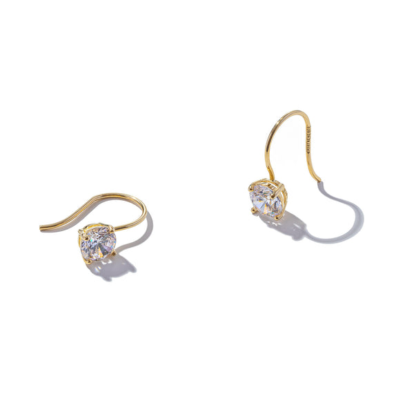 Solid 9ct Gold Classic Solitaire Hook Earrings