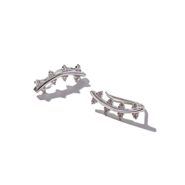 Sterling Silver Polished & Stone-Set Crawler Earrings