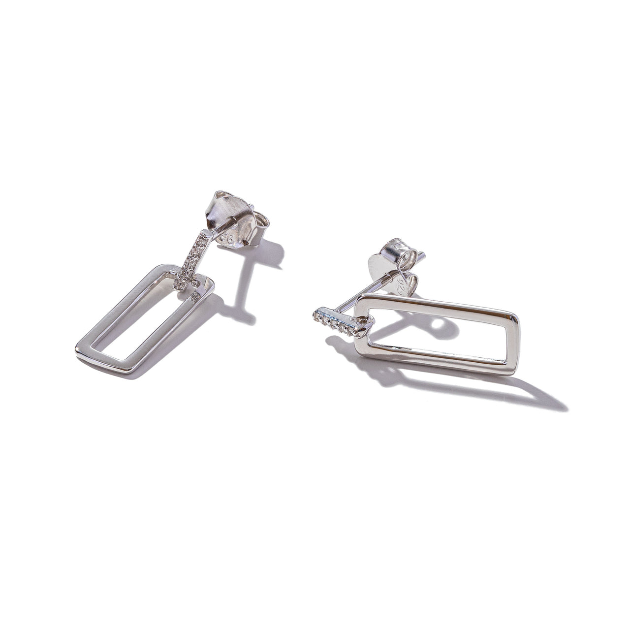 Sterling Silver Polished Rectangle Earrings