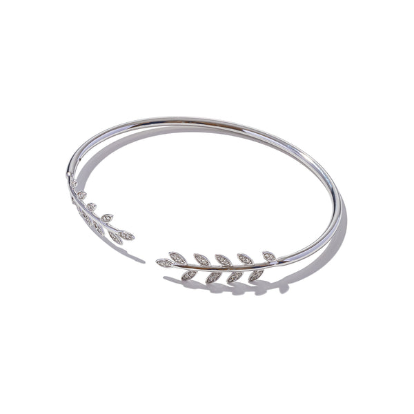 Sterling Silver Laurel Leaf Bangle
