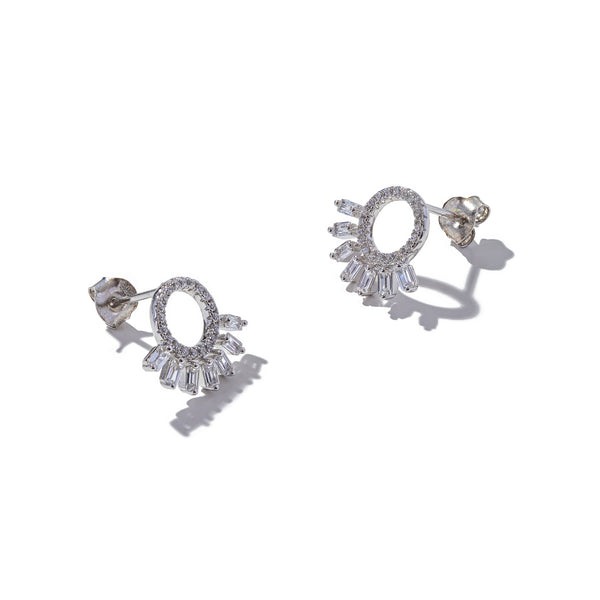 Sterling Silver Baguette Frill Earrings