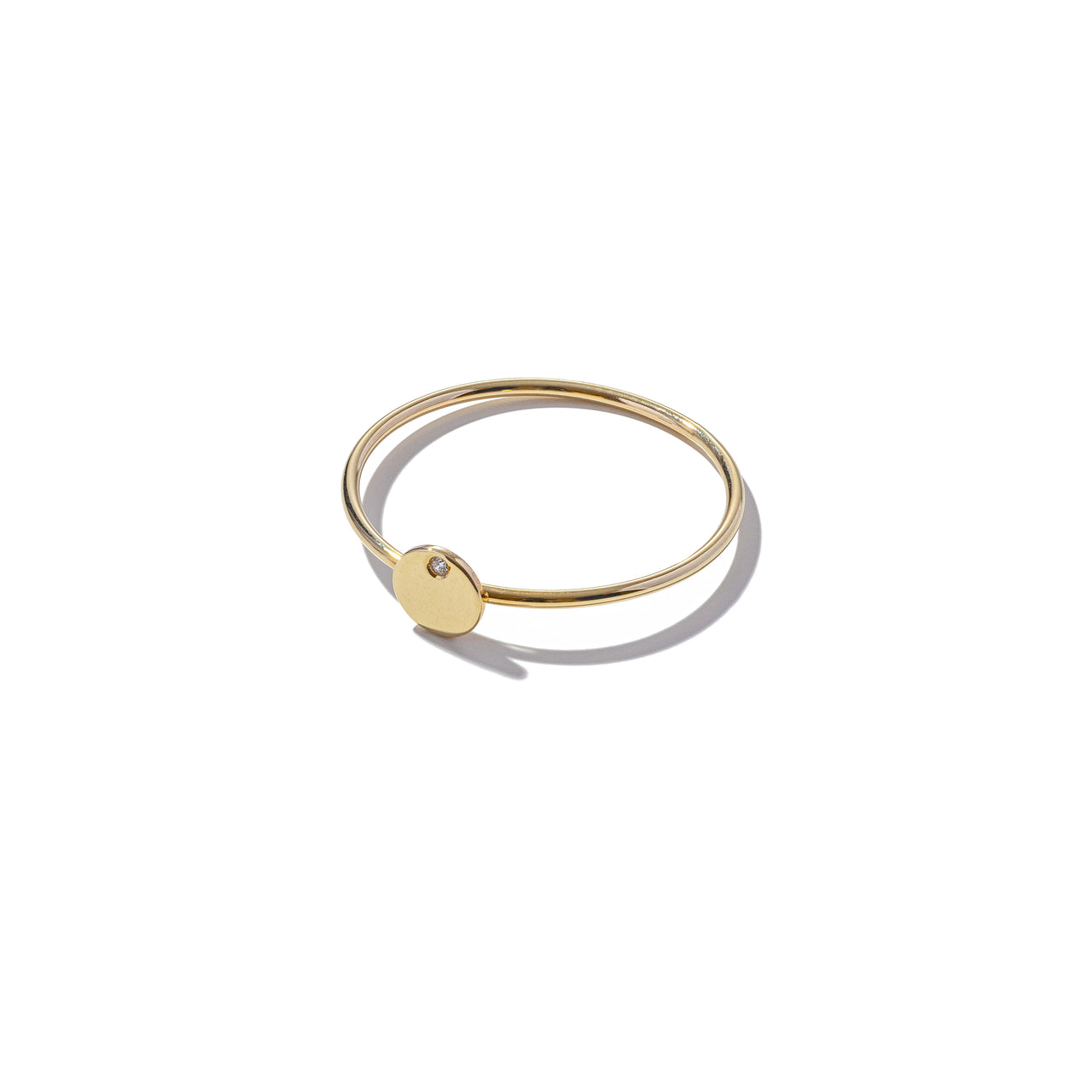 Solid 9ct Gold & Diamond Mini Round Ring