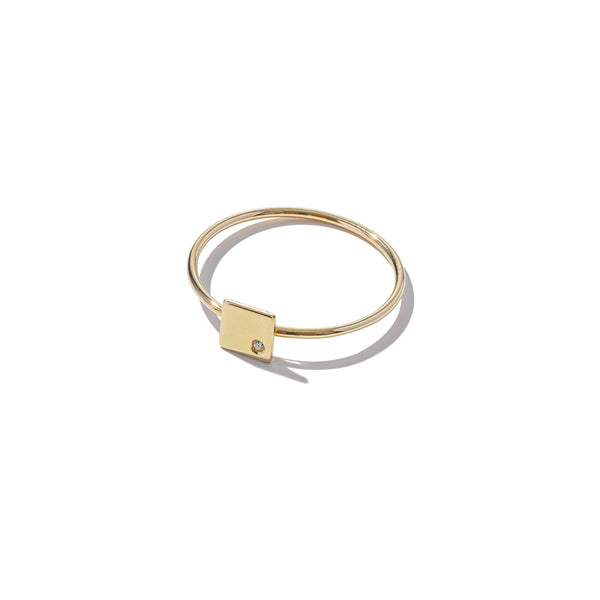 Solid 9ct Gold & Diamond Mini Square Ring