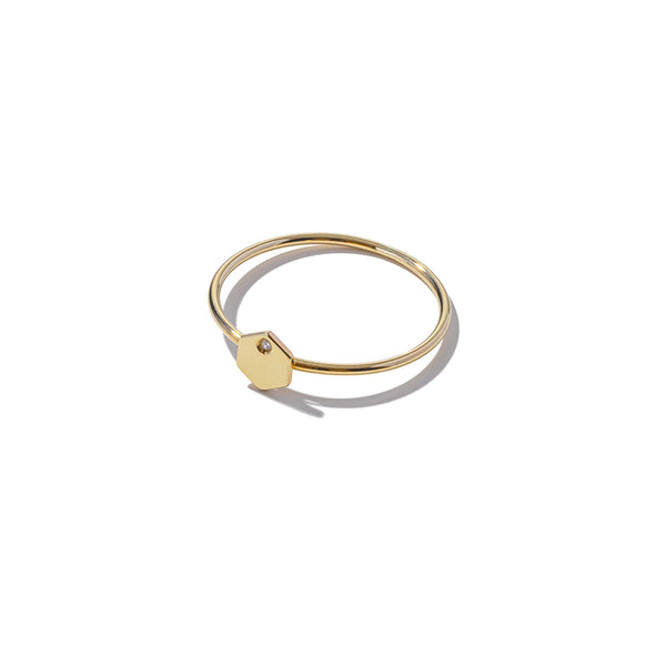Solid 9ct Gold & Diamond Mini Hexagon Ring