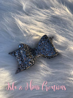 Baby Girl Bow - Little Girl Bow - Dark Gray Chunky Glitter Hairbow - Isla&Mimi Creations