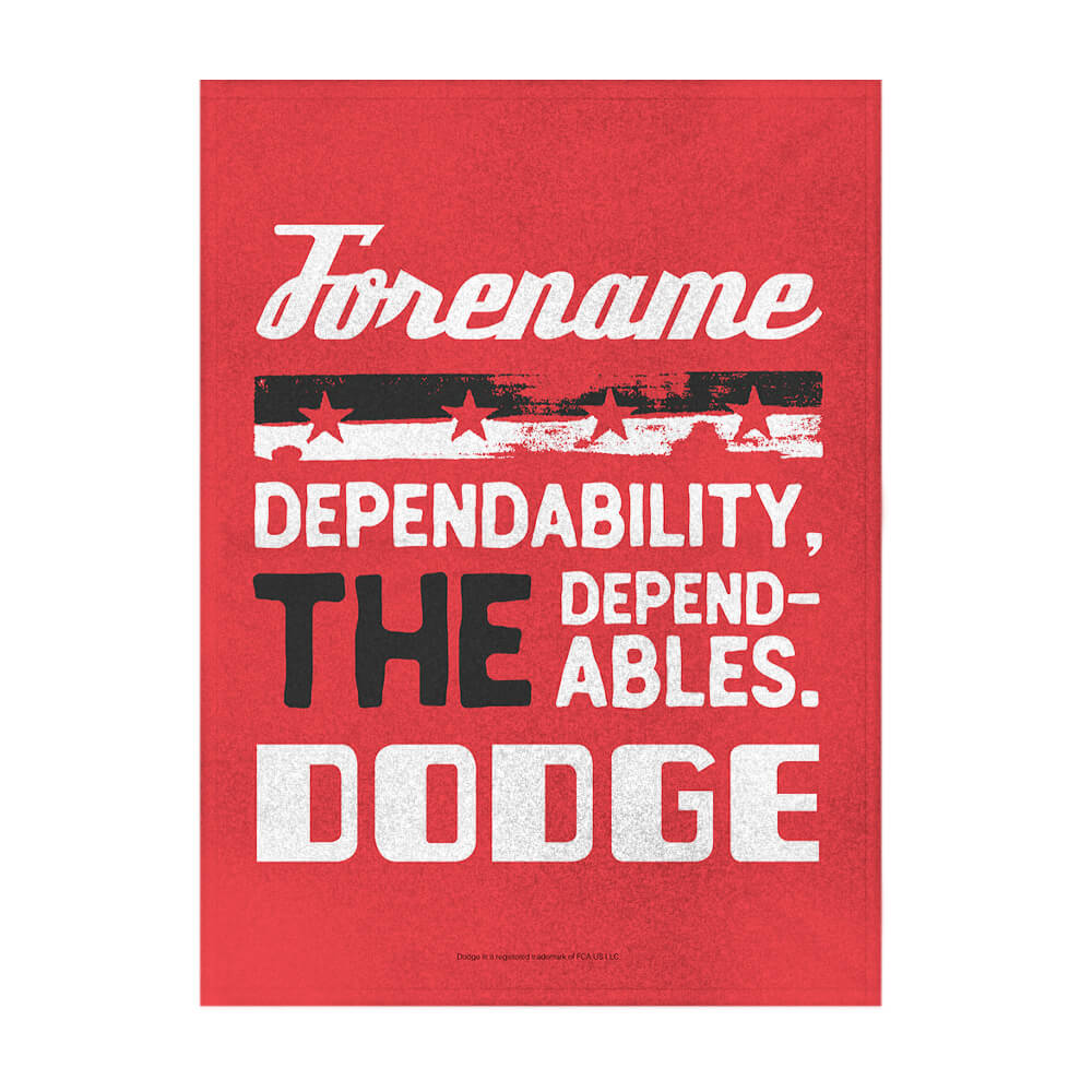 "Personalized Dodge Dependables Red 50""x60"" Sherpa Fleece Blanket"