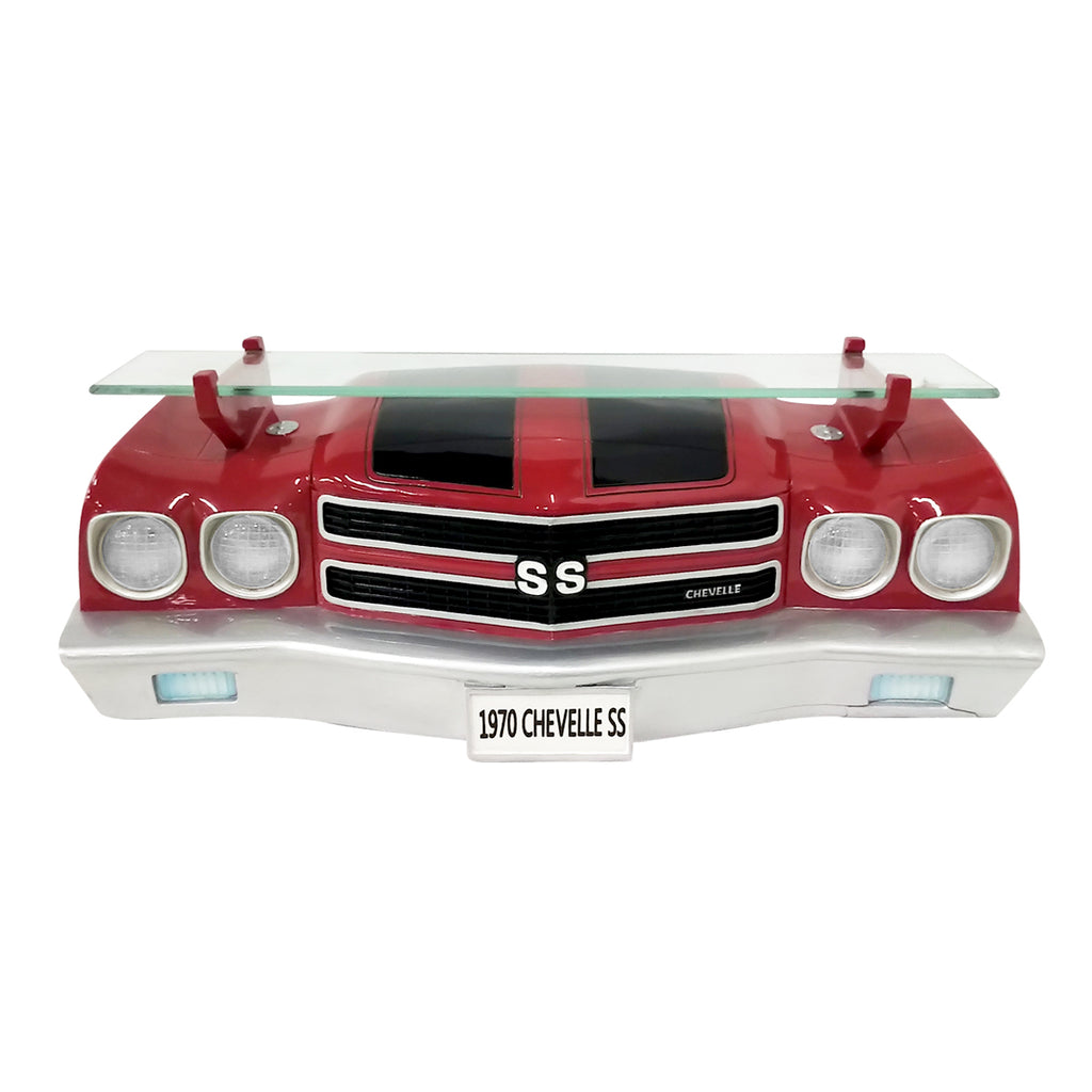 1970 CHEVELLE SS FRONT WALL SHELF RED WITH LED LIGHTS