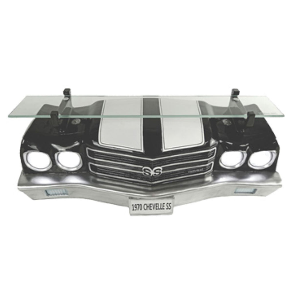 1970 CHEVELLE SS 3-D WALL SHELF, BLACK WITH LED LIGHTS