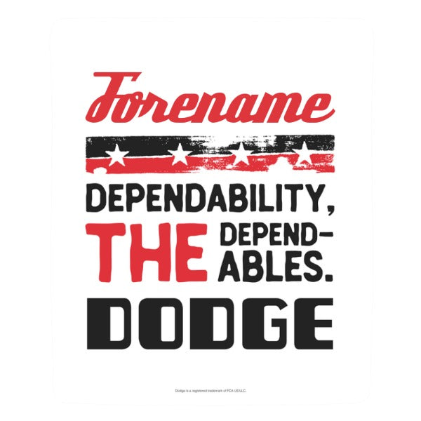 "Personalized Dodge Dependables White 50""x60"" Sherpa Fleece Blanket"