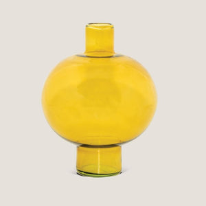 Vase recycled glass round Amber Green