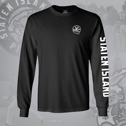 Staten Island Pizza Rats MV Sport Black NYC Long Sleeve Shirt