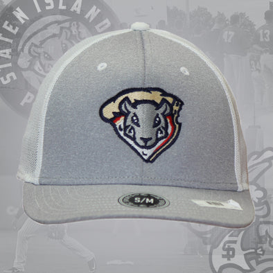 Staten Island Pizza Rats OC Sports Grey/White Rat Head Stretch Fit Cap