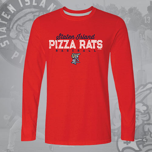Staten Island Pizza Rats Bimm Ridder Red Chef Long Sleeve Tee