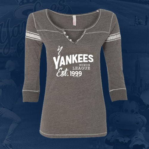 Staten Island Yankees MV Sport Ladies Grey/Blue 3/4 Sleeve T-Shirt