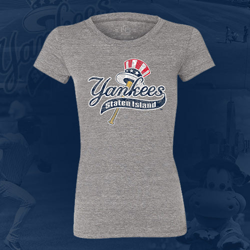 Staten Island Yankees 108 Stitches Heather Grey Ladies Paisley T-Shirt