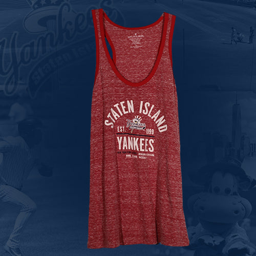 Staten Island Yankees Soft as a Grape Ladies Heather Red/Navy Tank Top