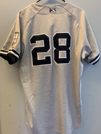 Staten Island Yankees Game Used Road Jersey #28 (Size 46) with George M. Steinbrenner Patch