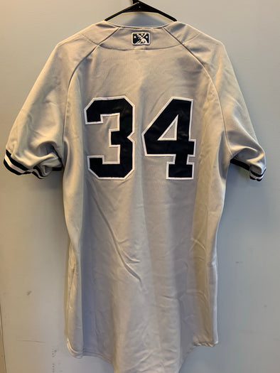 Staten Island Yankees Game Used Road Jersey #34 (Size 46) with George M. Steinbrenner Patch