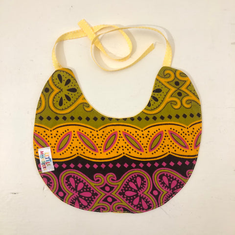 Unisex Bib - Malawi Kitenge fabric - Pink /Yellow /Green Mix