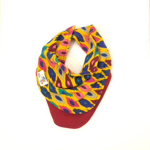 Bandanna Bib - Animal Print / Mustard base