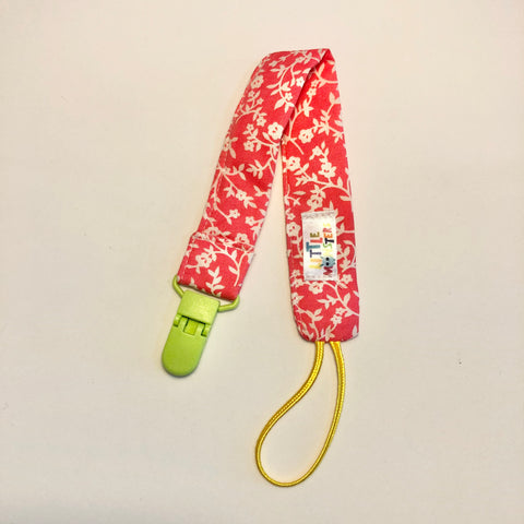 Pink floral , lime plastic clip - Dummy Clip (String) -