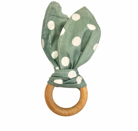 Wood Teething Ring - Sage Dots