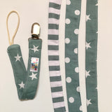 Sage Stars, stripes and Dots , silver Metal clip- Dummy Clip (String) -