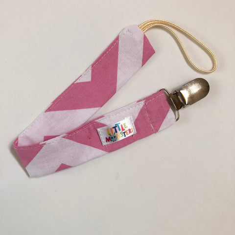 Pink/white Zigzag , silver Metal clip- Dummy Clip (String) -