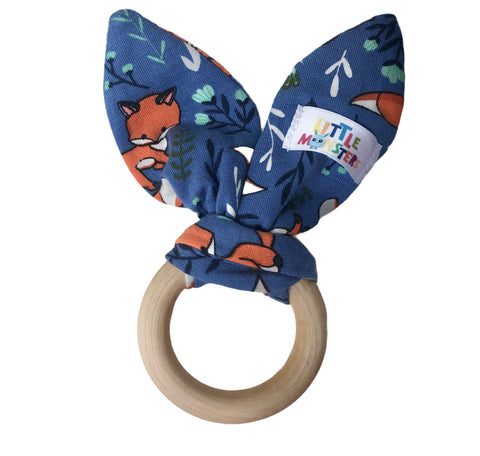 Wood Teething Ring - blue Fox