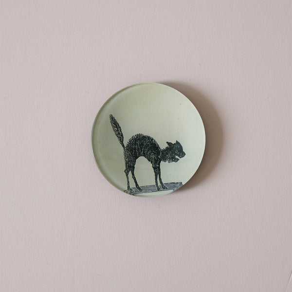 "4"" Round Dish, Arched Cat"