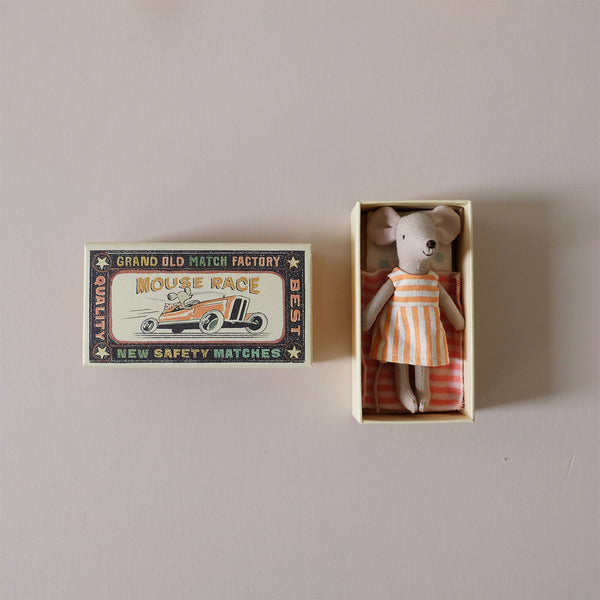 Big Sister Mouse in Striped Dress in Matchbox
