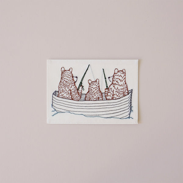 Bear Family Fishing Embroidered Note Card