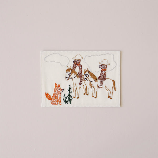 Bears on Horseback Embroidered Note Card