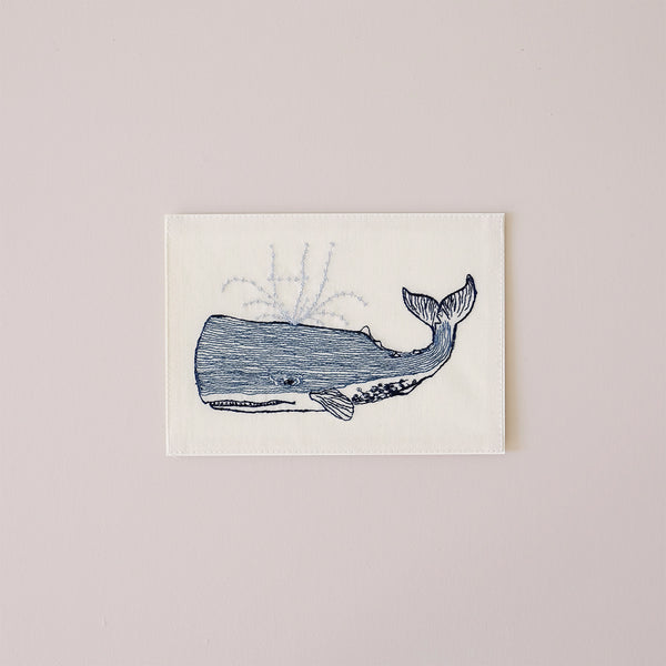 Hi Whale Embroidered Note Card
