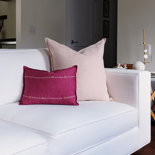 Stitch Stripe Fuchsia Pillow