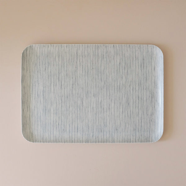 Linen Coated Tray Large Light Grey & White Stripe