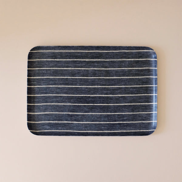 Linen Coated Tray Large Wide Navy Stripe
