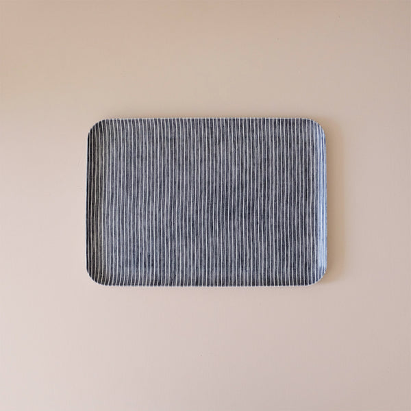Linen Coated Tray Medium Grey & White Stripe